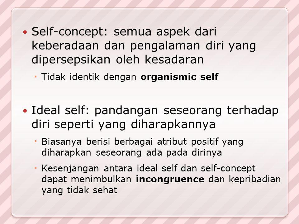 Self-concept: semua aspek dari keberadaan dan pengalaman diri yang dipersepsikan oleh kesadaran  Tidak identik dengan organismic self Ideal self: pan