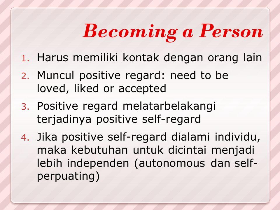 Becoming a Person 1. Harus memiliki kontak dengan orang lain 2. Muncul positive regard: need to be loved, liked or accepted 3. Positive regard melatar
