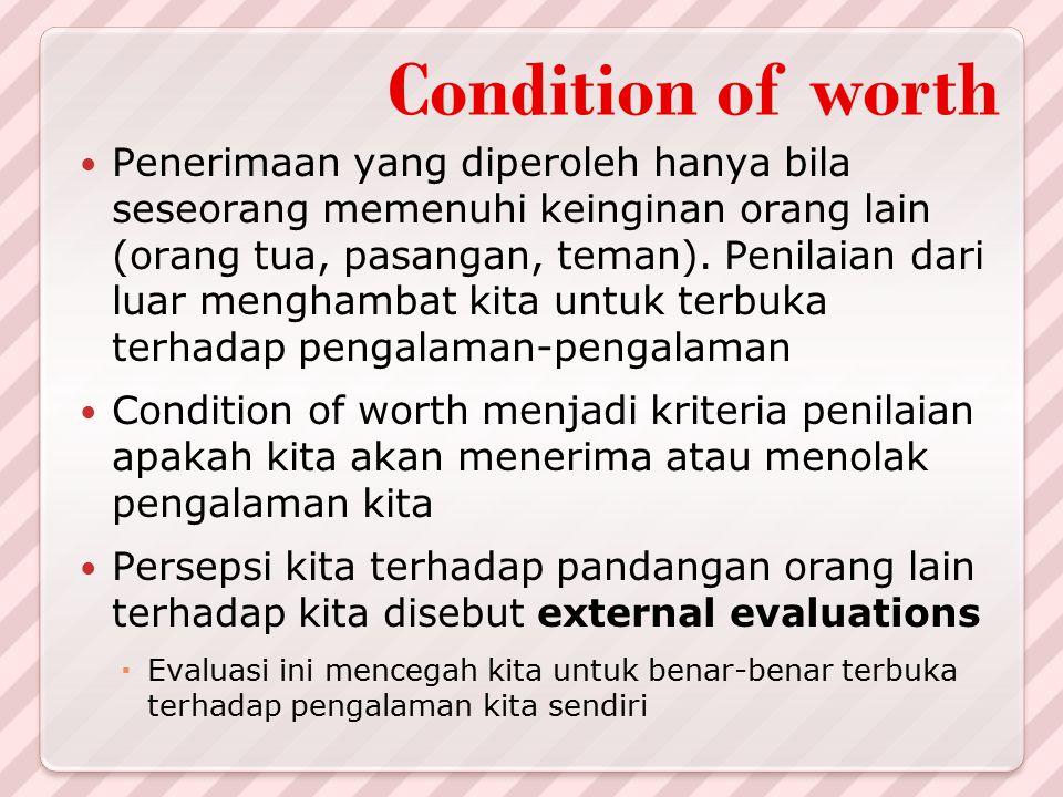 Condition of worth Penerimaan yang diperoleh hanya bila seseorang memenuhi keinginan orang lain (orang tua, pasangan, teman). Penilaian dari luar meng
