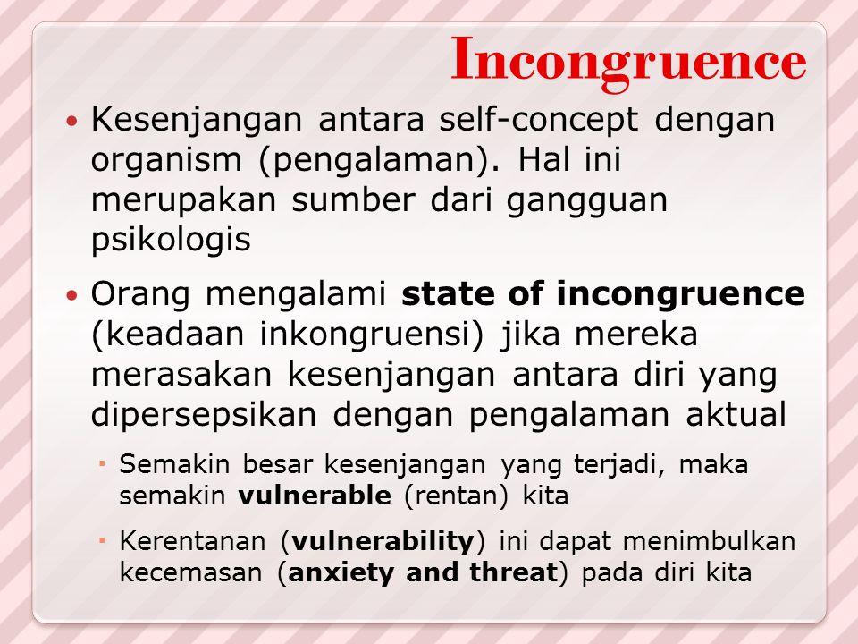 Incongruence Kesenjangan antara self-concept dengan organism (pengalaman). Hal ini merupakan sumber dari gangguan psikologis Orang mengalami state of