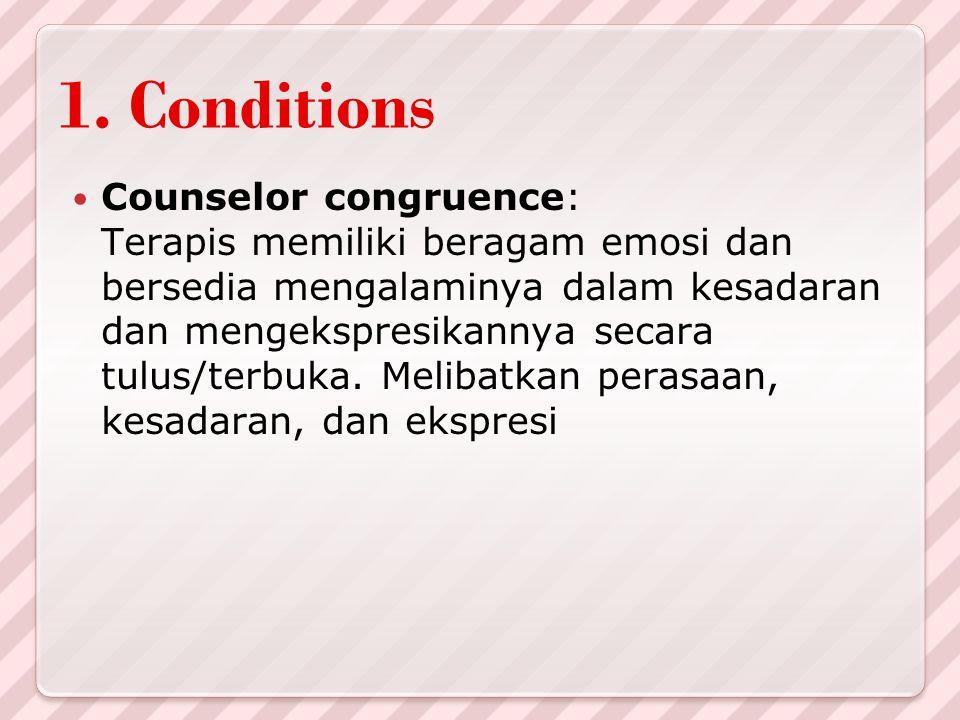 1. Conditions Counselor congruence: Terapis memiliki beragam emosi dan bersedia mengalaminya dalam kesadaran dan mengekspresikannya secara tulus/terbu