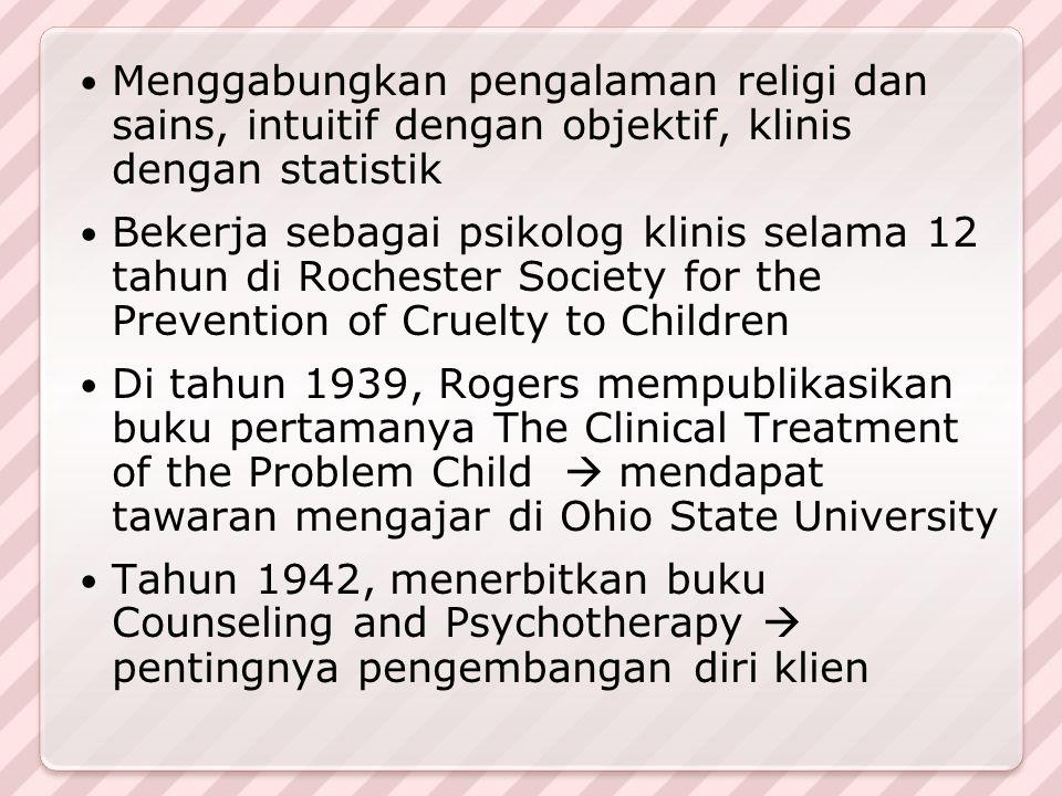 Menggabungkan pengalaman religi dan sains, intuitif dengan objektif, klinis dengan statistik Bekerja sebagai psikolog klinis selama 12 tahun di Roches
