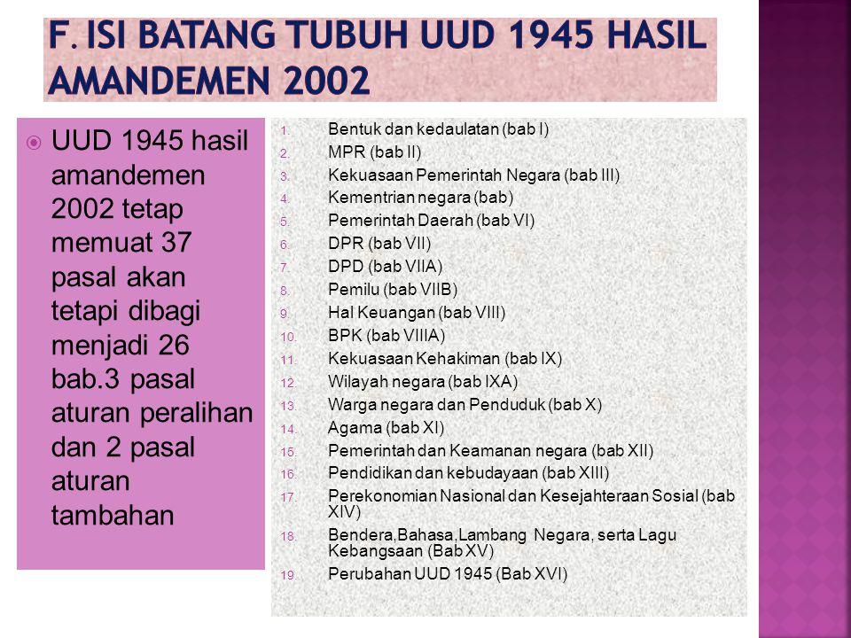  UUD 1945 hasil amandemen 2002 tetap memuat 37 pasal akan tetapi dibagi menjadi 26 bab.3 pasal aturan peralihan dan 2 pasal aturan tambahan 1.