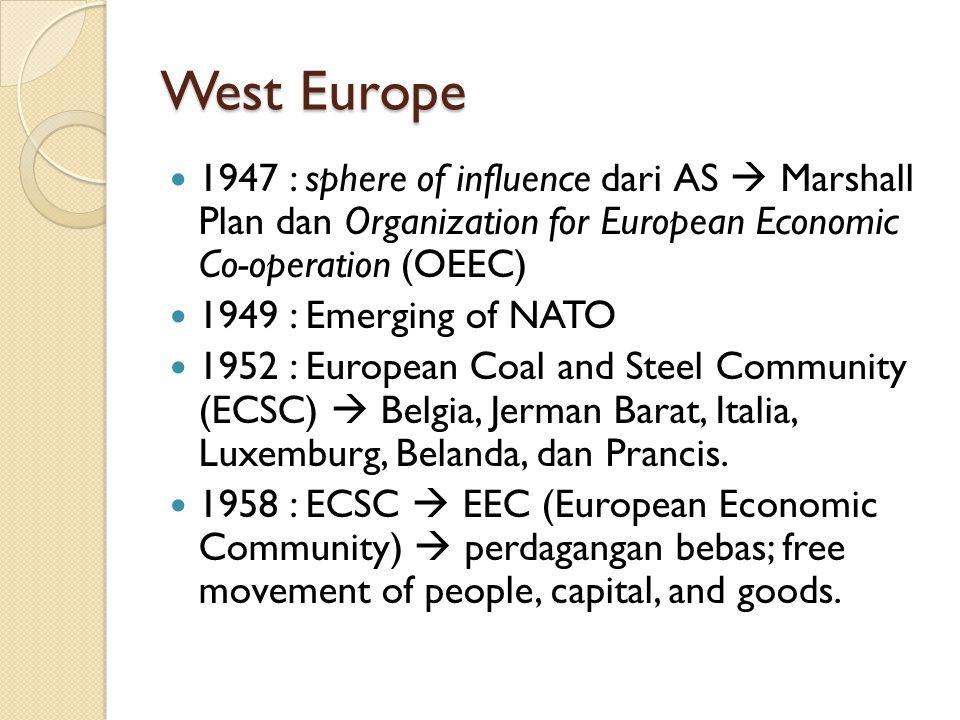 West Europe 1947 : sphere of influence dari AS  Marshall Plan dan Organization for European Economic Co-operation (OEEC) 1949 : Emerging of NATO 1952 : European Coal and Steel Community (ECSC)  Belgia, Jerman Barat, Italia, Luxemburg, Belanda, dan Prancis.