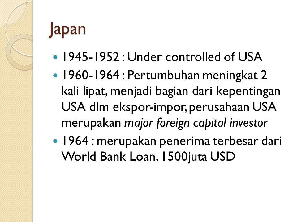 Japan 1945-1952 : Under controlled of USA 1960-1964 : Pertumbuhan meningkat 2 kali lipat, menjadi bagian dari kepentingan USA dlm ekspor-impor, perusahaan USA merupakan major foreign capital investor 1964 : merupakan penerima terbesar dari World Bank Loan, 1500juta USD