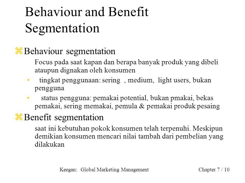 Keegan: Global Marketing ManagementChapter 7 / 10 Behaviour and Benefit Segmentation zBehaviour segmentation Focus pada saat kapan dan berapa banyak p