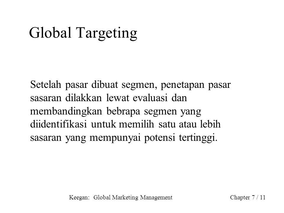 Keegan: Global Marketing ManagementChapter 7 / 11 Global Targeting Setelah pasar dibuat segmen, penetapan pasar sasaran dilakkan lewat evaluasi dan me