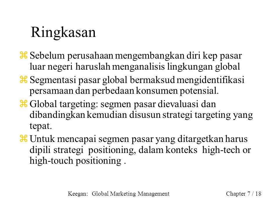 Keegan: Global Marketing ManagementChapter 7 / 18 Ringkasan zSebelum perusahaan mengembangkan diri kep pasar luar negeri haruslah menganalisis lingkun