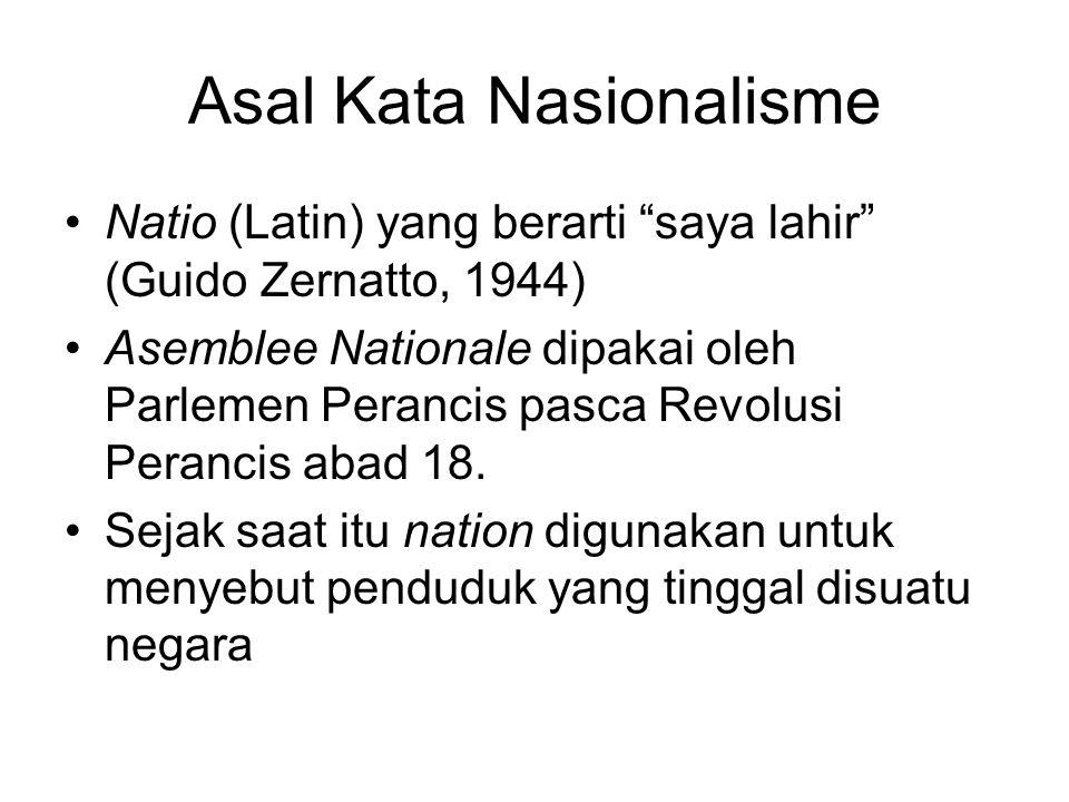 Asal Kata Nasionalisme Natio (Latin) yang berarti saya lahir (Guido Zernatto, 1944) Asemblee Nationale dipakai oleh Parlemen Perancis pasca Revolusi Perancis abad 18.