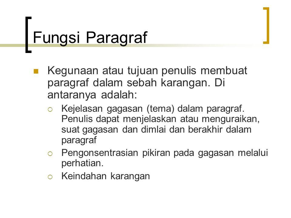 Fungsi Paragraf Kegunaan atau tujuan penulis membuat paragraf dalam sebah karangan. Di antaranya adalah:  Kejelasan gagasan (tema) dalam paragraf. Pe