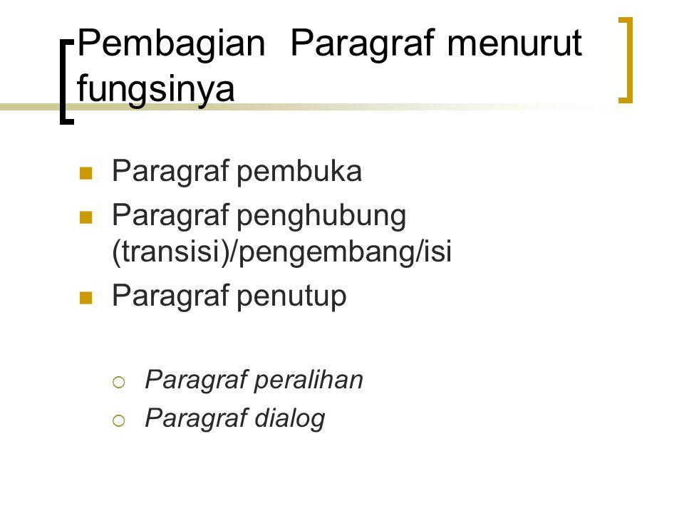 Pembagian Paragraf menurut fungsinya Paragraf pembuka Paragraf penghubung (transisi)/pengembang/isi Paragraf penutup  Paragraf peralihan  Paragraf d