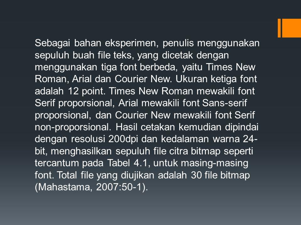 Sebagai bahan eksperimen, penulis menggunakan sepuluh buah file teks, yang dicetak dengan menggunakan tiga font berbeda, yaitu Times New Roman, Arial