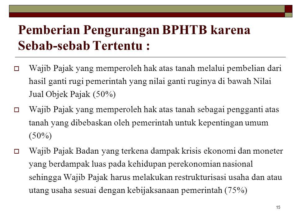 15 Pemberian Pengurangan BPHTB karena Sebab-sebab Tertentu :  Wajib Pajak yang memperoleh hak atas tanah melalui pembelian dari hasil ganti rugi peme