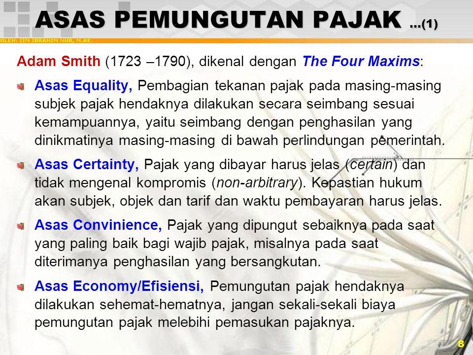 9 ASAS PEMUNGUTAN PAJAK …(2) Teori Asuransi, artinya negara berhak memunguti pajak karena negara melindungi keselamatan jiwa, harta benda, dan hak-hak rakyatnya.