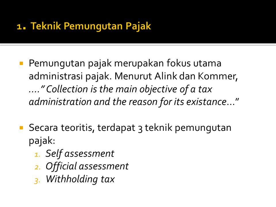 """ Pemungutan pajak merupakan fokus utama administrasi pajak. Menurut Alink dan Kommer,...."""" Collection is the main objective of a tax administration a"""