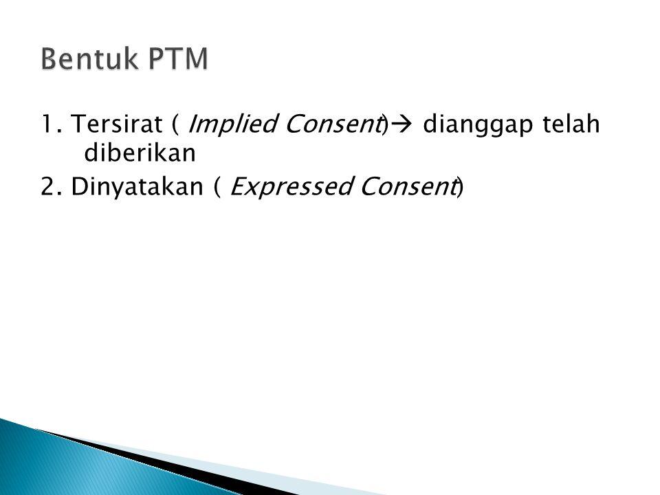 1. Tersirat ( Implied Consent)  dianggap telah diberikan 2. Dinyatakan ( Expressed Consent)