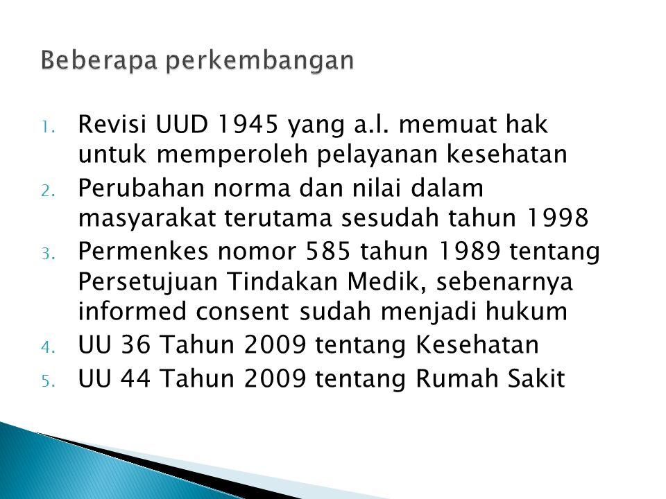 1. Revisi UUD 1945 yang a.l. memuat hak untuk memperoleh pelayanan kesehatan 2. Perubahan norma dan nilai dalam masyarakat terutama sesudah tahun 1998