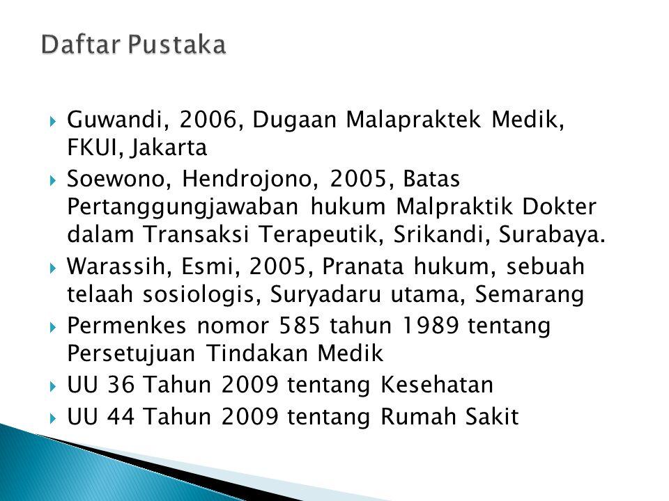  Guwandi, 2006, Dugaan Malapraktek Medik, FKUI, Jakarta  Soewono, Hendrojono, 2005, Batas Pertanggungjawaban hukum Malpraktik Dokter dalam Transaksi
