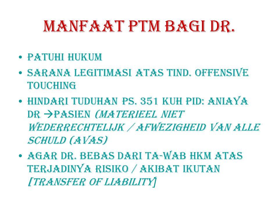 MANFAAT PTM BAGI DR.PATUHI HUKUM SARANA LEGItImASI ATAS TIND.