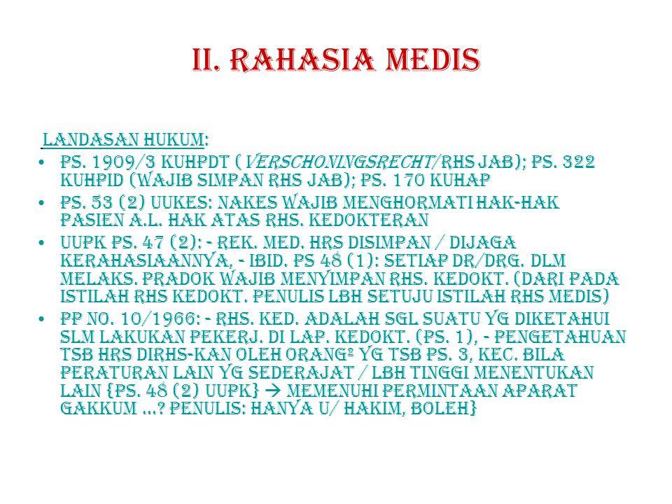 II.RAHASIA MEDIs LANDASAN HUKUM: Ps. 1909/3 KUHPdt (verschoningsrecht/rhs jab); ps.
