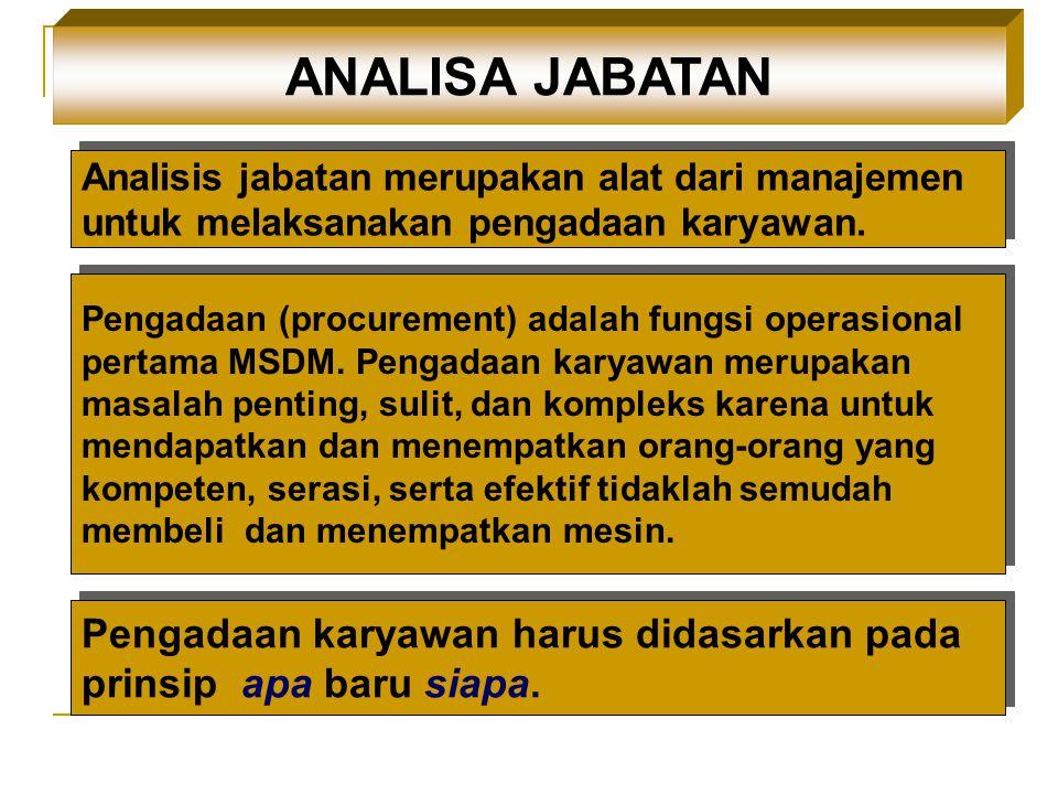ANALISA JABATAN Analisis jabatan merupakan alat dari manajemen untuk melaksanakan pengadaan karyawan.