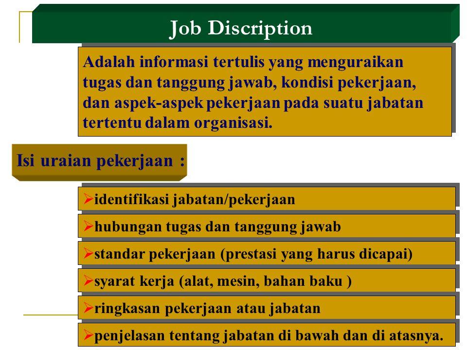 Job Discription Adalah informasi tertulis yang menguraikan tugas dan tanggung jawab, kondisi pekerjaan, dan aspek-aspek pekerjaan pada suatu jabatan tertentu dalam organisasi.