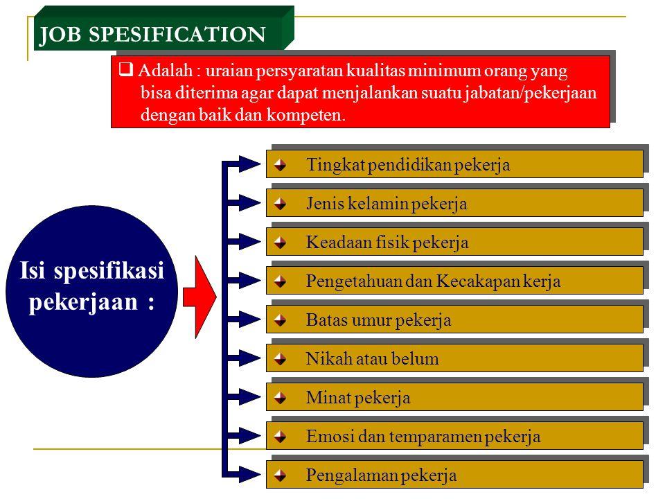 Job Discription Adalah informasi tertulis yang menguraikan tugas dan tanggung jawab, kondisi pekerjaan, dan aspek-aspek pekerjaan pada suatu jabatan t