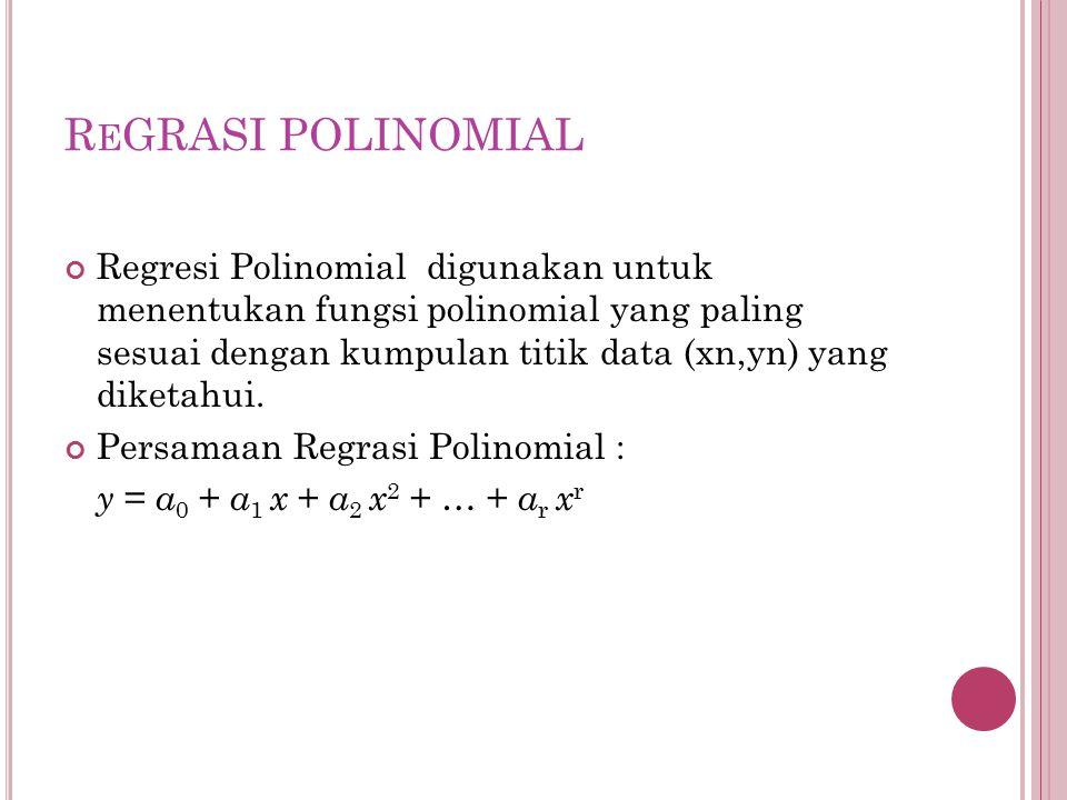 Algoritma Regresi Polinomial 1.Tentukan N titik data yang diketahui dalam(xi,yi) untuk i = 1,2,3,..,N 2.Hitung nilai-nilai yang berhubungan dengan jumlah data untuk mengisi matrik normal 3.Hitung nilai koefisien a0, a1, a2 dengan menggunakan eliminasi Gauss/Gauss-Jordan 4.Tampilkan fungsi polinomial y = a 0 + a 1 x + a 2 x 2 + … + a r x r 5.Hitung fungsi polinomial tersebut dalam range x dan step dx tertentu 6.Tampilkan hasil tabel(xn,yn) dari hasil fungsi polinomial tersebut
