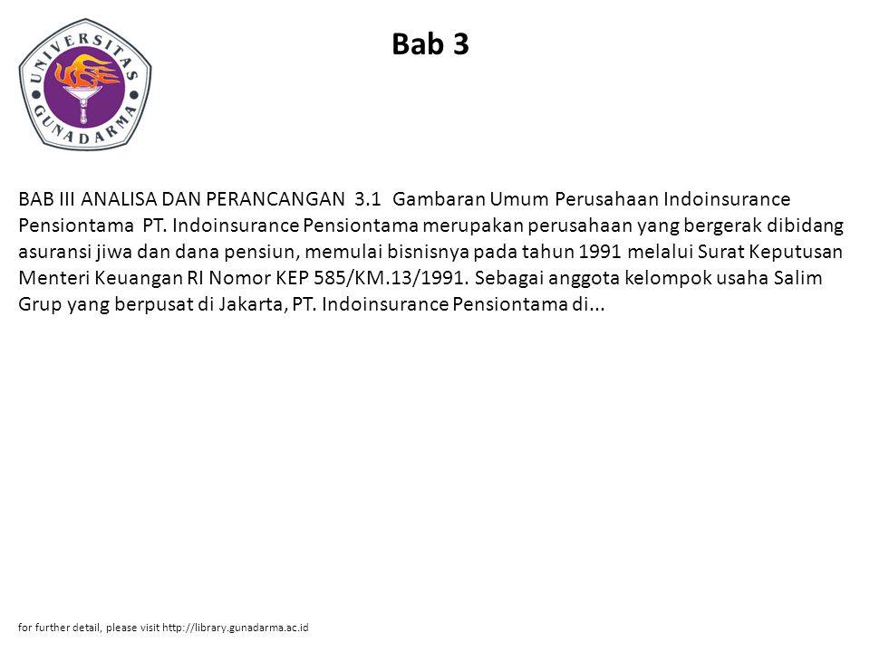 Bab 3 BAB III ANALISA DAN PERANCANGAN 3.1 Gambaran Umum Perusahaan Indoinsurance Pensiontama PT.