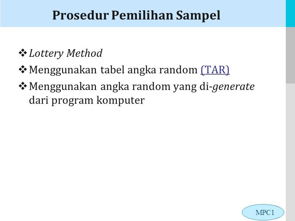 LOGO Prosedur Pemilihan Sampel  Lottery Method  Menggunakan tabel angka random (TAR)(TAR)  Menggunakan angka random yang di-generate dari program komputer MPC1