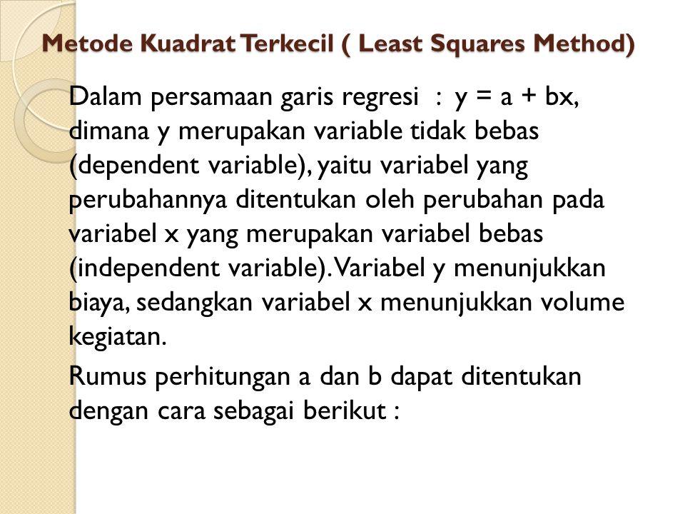 Metode Kuadrat Terkecil ( Least Squares Method) Dalam persamaan garis regresi : y = a + bx, dimana y merupakan variable tidak bebas (dependent variable), yaitu variabel yang perubahannya ditentukan oleh perubahan pada variabel x yang merupakan variabel bebas (independent variable).