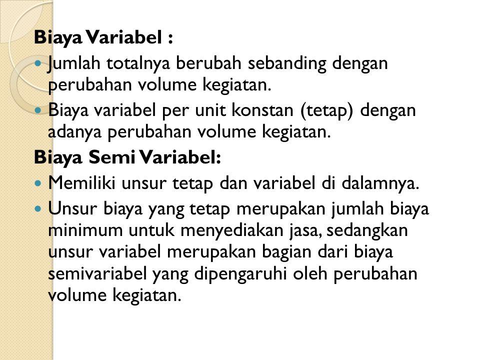 Biaya Variabel : Jumlah totalnya berubah sebanding dengan perubahan volume kegiatan. Biaya variabel per unit konstan (tetap) dengan adanya perubahan v