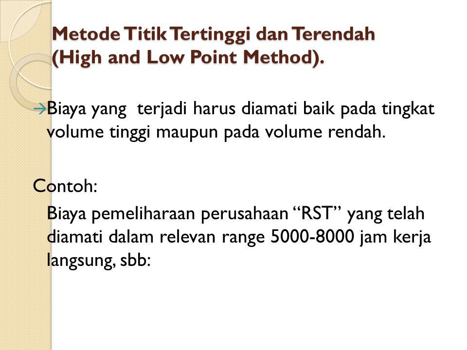 Metode Titik Tertinggi dan Terendah (High and Low Point Method).  Biaya yang terjadi harus diamati baik pada tingkat volume tinggi maupun pada volume