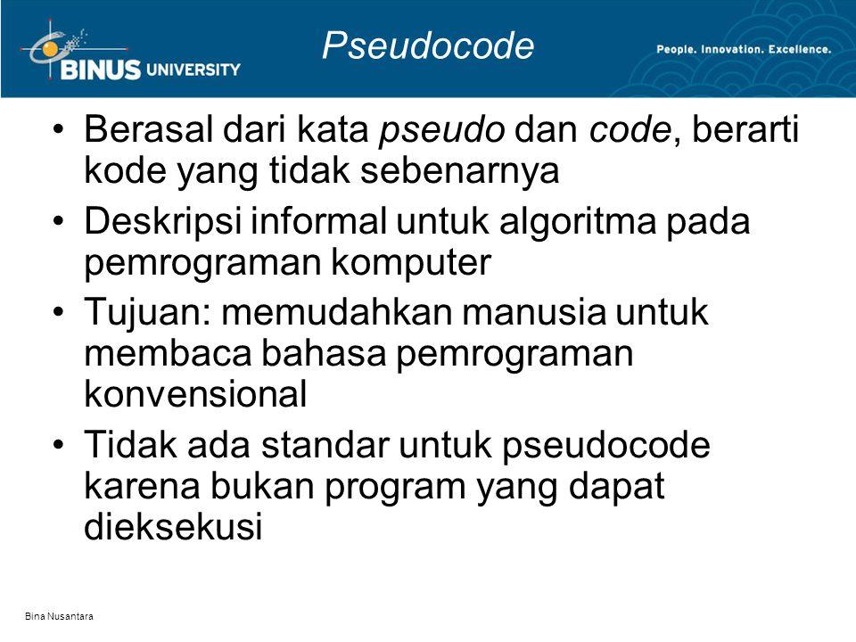 Bina Nusantara Pseudocode Berasal dari kata pseudo dan code, berarti kode yang tidak sebenarnya Deskripsi informal untuk algoritma pada pemrograman ko