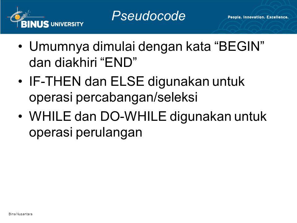 """Bina Nusantara Pseudocode Umumnya dimulai dengan kata """"BEGIN"""" dan diakhiri """"END"""" IF-THEN dan ELSE digunakan untuk operasi percabangan/seleksi WHILE da"""
