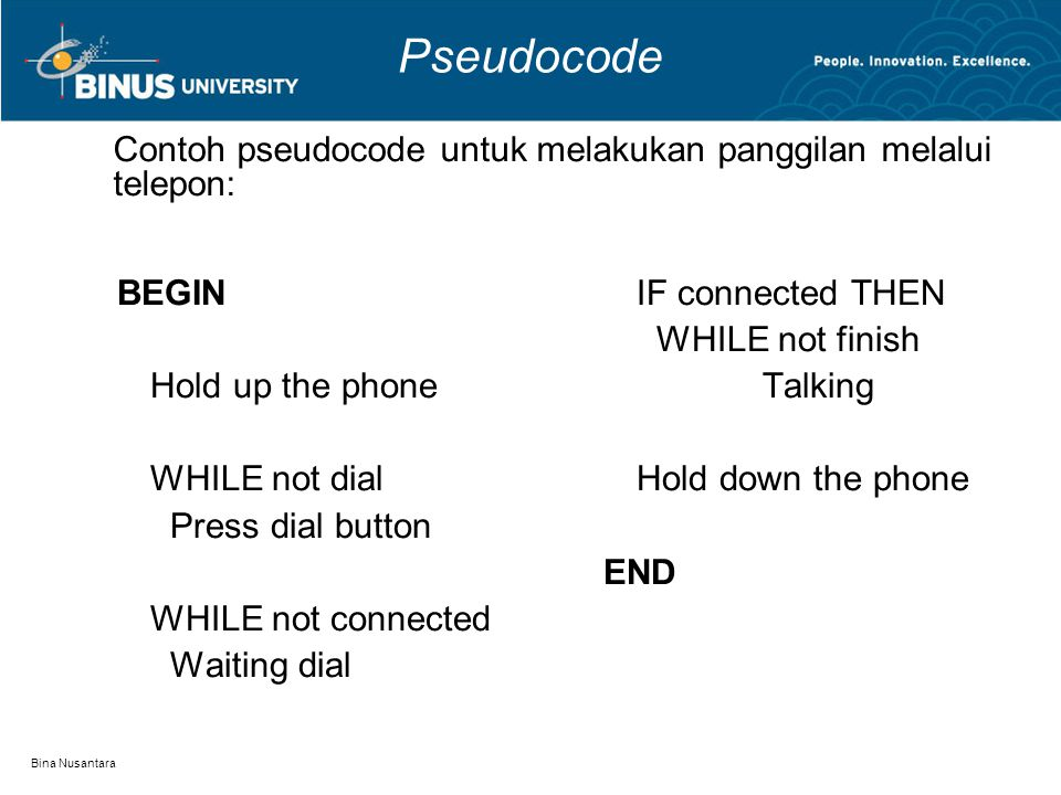Bina Nusantara Pseudocode BEGIN Hold up the phone WHILE not dial Press dial button WHILE not connected Waiting dial IF connected THEN WHILE not finish