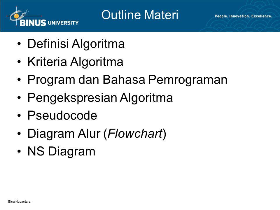 Bina Nusantara Outline Materi Definisi Algoritma Kriteria Algoritma Program dan Bahasa Pemrograman Pengekspresian Algoritma Pseudocode Diagram Alur (F