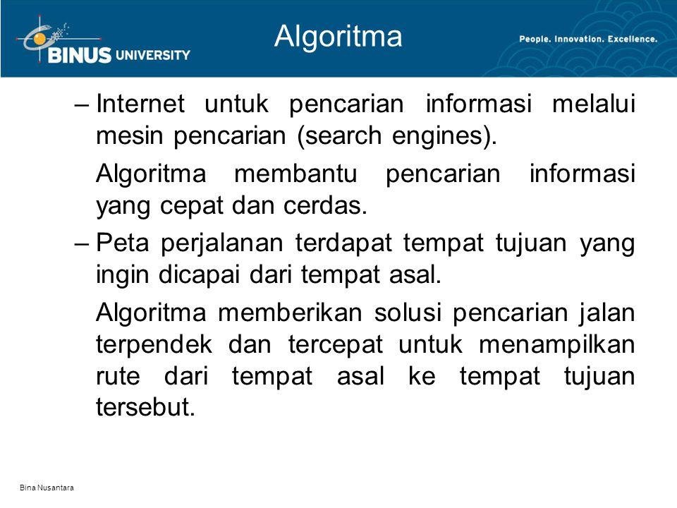 Bina Nusantara Algoritma –Internet untuk pencarian informasi melalui mesin pencarian (search engines). Algoritma membantu pencarian informasi yang cep