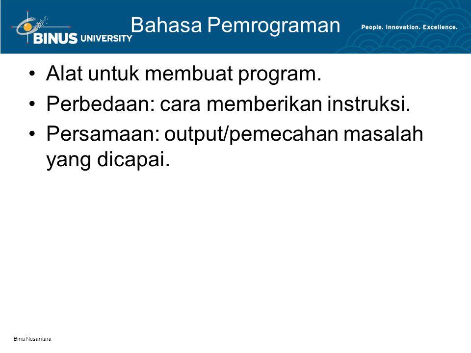 Bina Nusantara Bahasa Pemrograman Alat untuk membuat program. Perbedaan: cara memberikan instruksi. Persamaan: output/pemecahan masalah yang dicapai.