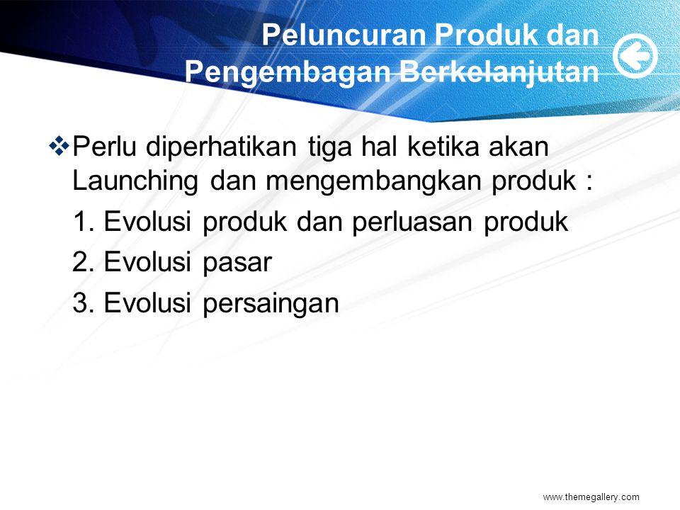 Peluncuran Produk dan Pengembagan Berkelanjutan  Perlu diperhatikan tiga hal ketika akan Launching dan mengembangkan produk : 1.