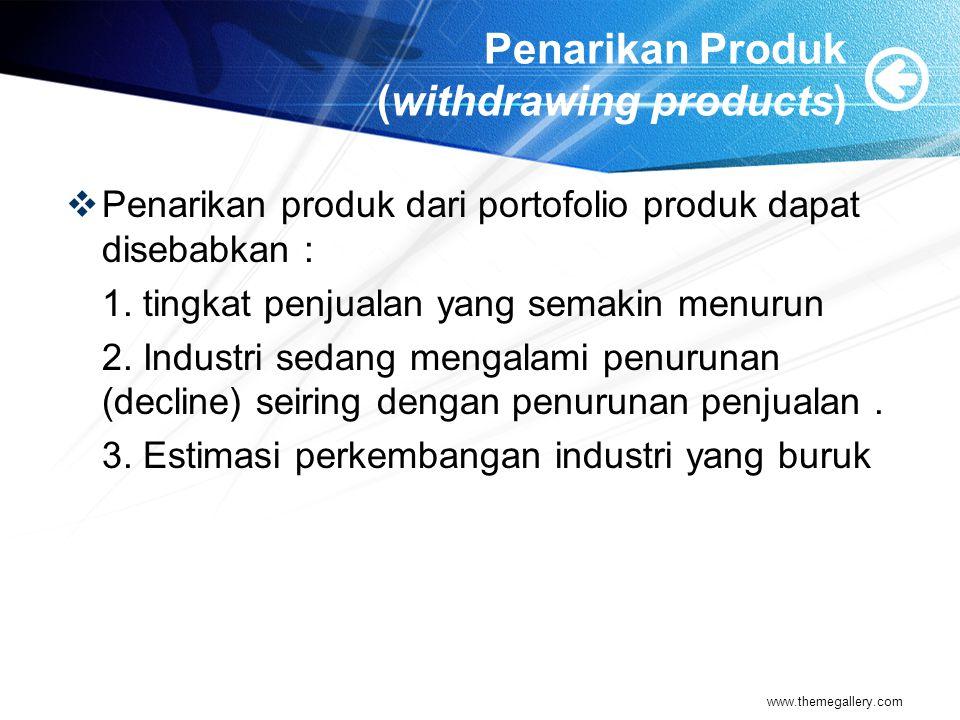 Penarikan Produk (withdrawing products)  Penarikan produk dari portofolio produk dapat disebabkan : 1.