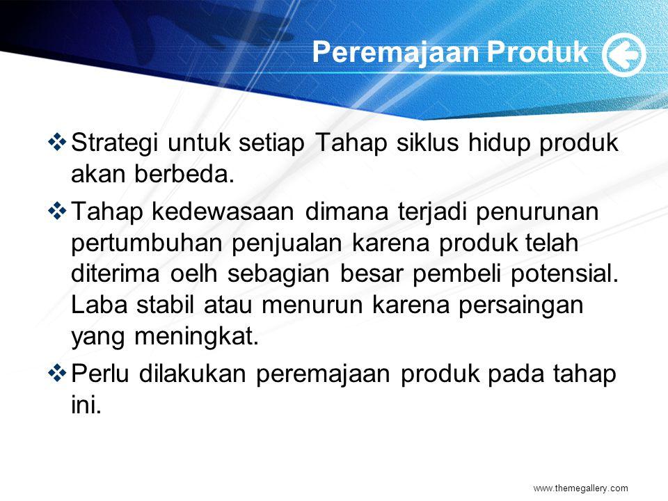Peremajaan Produk  Strategi untuk setiap Tahap siklus hidup produk akan berbeda.