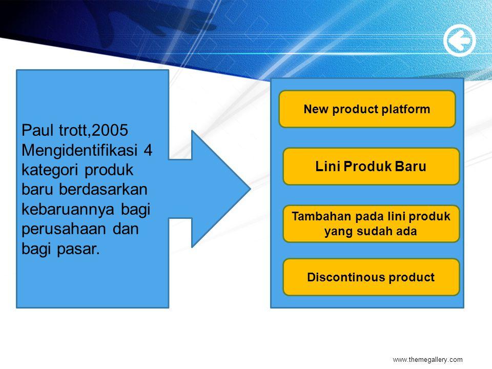 Paul trott,2005 Mengidentifikasi 4 kategori produk baru berdasarkan kebaruannya bagi perusahaan dan bagi pasar.