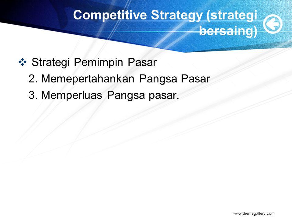 Competitive Strategy (strategi bersaing)  Strategi Pemimpin Pasar 2.
