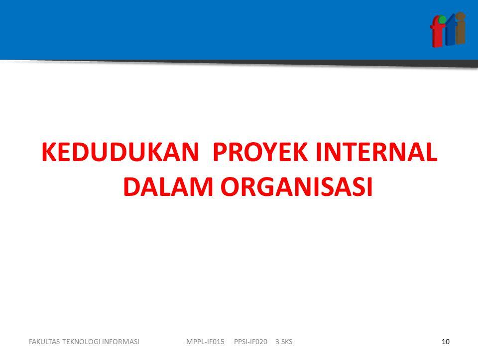 KEDUDUKAN PROYEK INTERNAL DALAM ORGANISASI FAKULTAS TEKNOLOGI INFORMASI10MPPL-IF015 PPSI-IF020 3 SKS