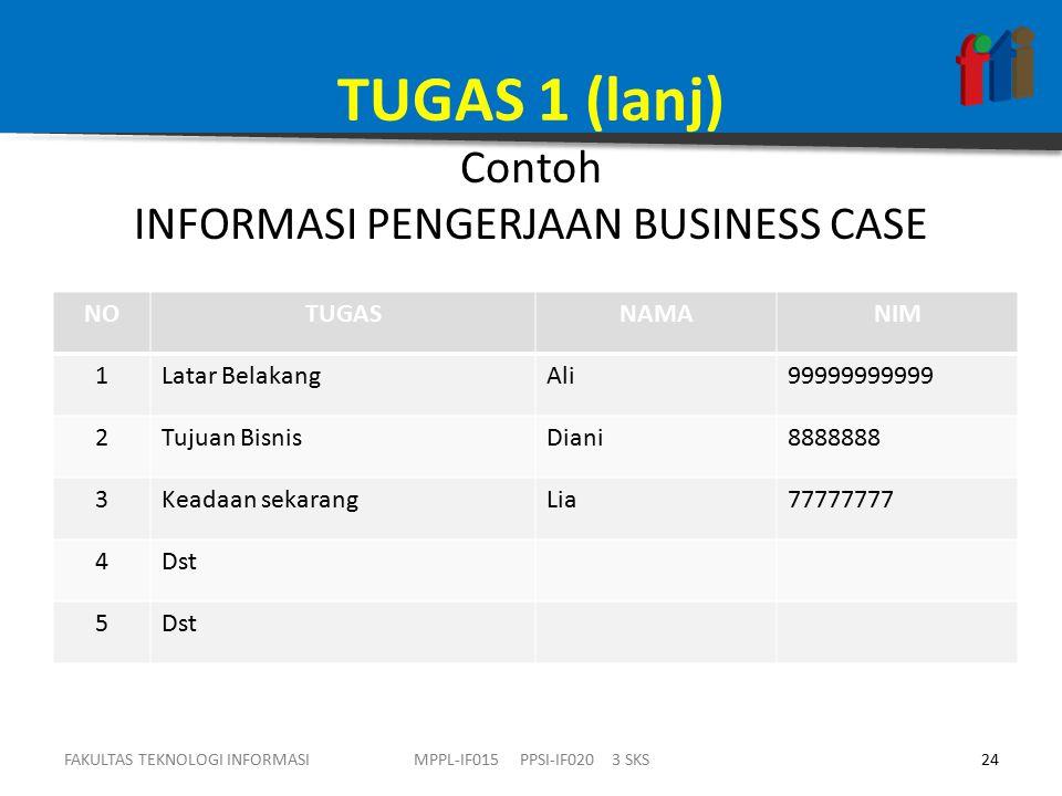 TUGAS 1 (lanj) Contoh INFORMASI PENGERJAAN BUSINESS CASE FAKULTAS TEKNOLOGI INFORMASI24MPPL-IF015 PPSI-IF020 3 SKS NOTUGASNAMANIM 1Latar BelakangAli99999999999 2Tujuan BisnisDiani8888888 3Keadaan sekarangLia77777777 4Dst 5