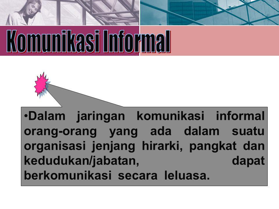 Dalam jaringan komunikasi informal orang-orang yang ada dalam suatu organisasi jenjang hirarki, pangkat dan kedudukan/jabatan, dapat berkomunikasi sec