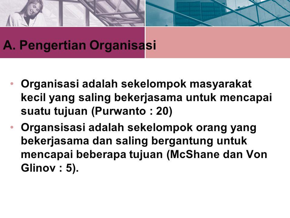 A. Pengertian Organisasi Organisasi adalah sekelompok masyarakat kecil yang saling bekerjasama untuk mencapai suatu tujuan (Purwanto : 20) Organsisasi