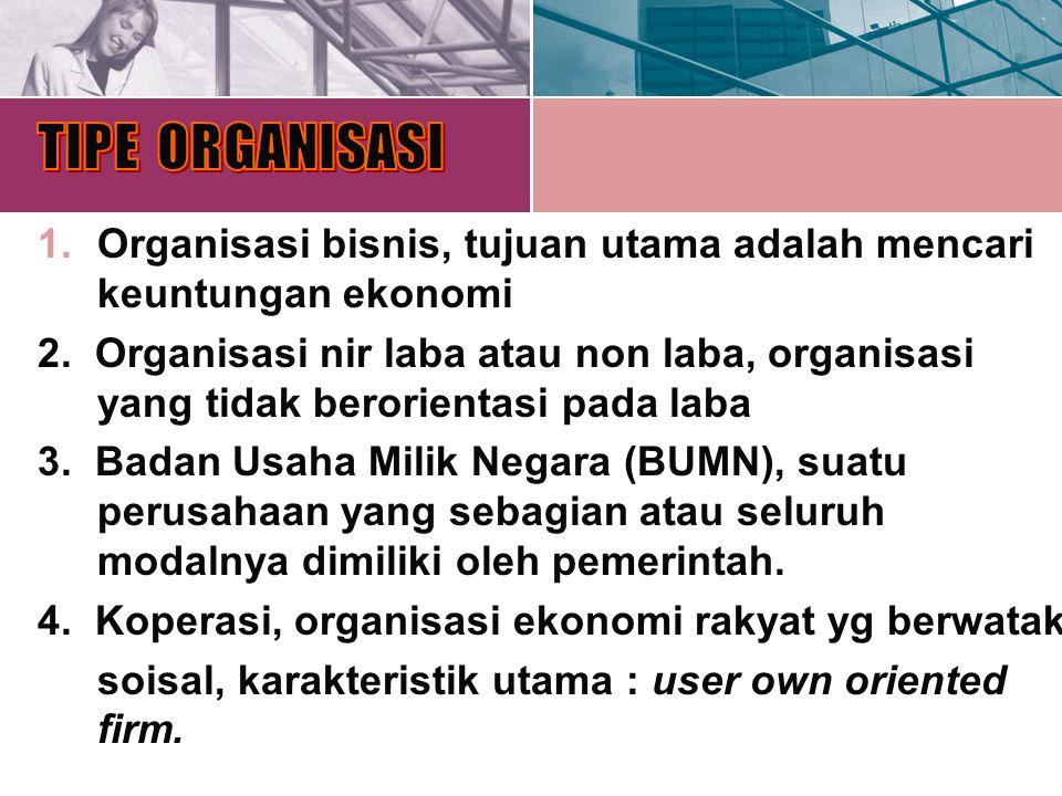 1.Organisasi bisnis, tujuan utama adalah mencari keuntungan ekonomi. 2. Organisasi nir laba atau non laba, organisasi yang tidak berorientasi pada lab