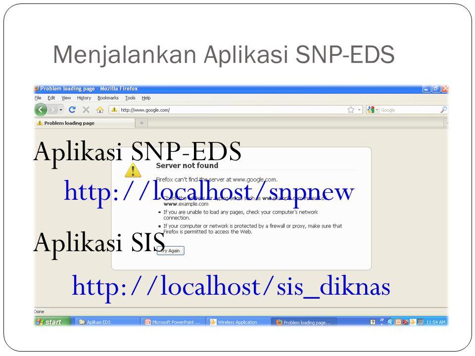 http://localhost/snpnew http://localhost/sis_diknas Aplikasi SNP-EDS Aplikasi SIS